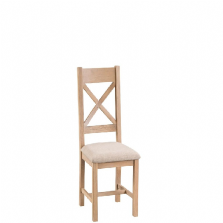 Malmo Oak Cross Back Chairs with Fabric Seat